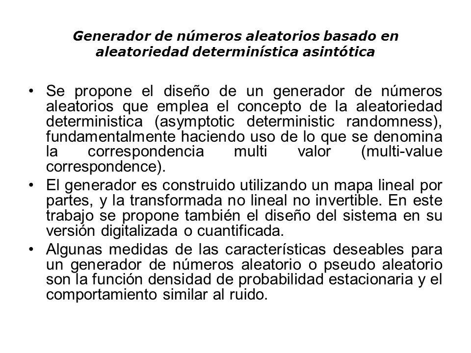 Generador de números aleatorios basado en aleatoriedad determinística asintótica Se propone el diseño de un generador de números aleatorios que emplea