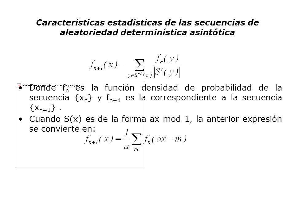 Características estadísticas de las secuencias de aleatoriedad determinística asintótica Donde f n es la función densidad de probabilidad de la secuen