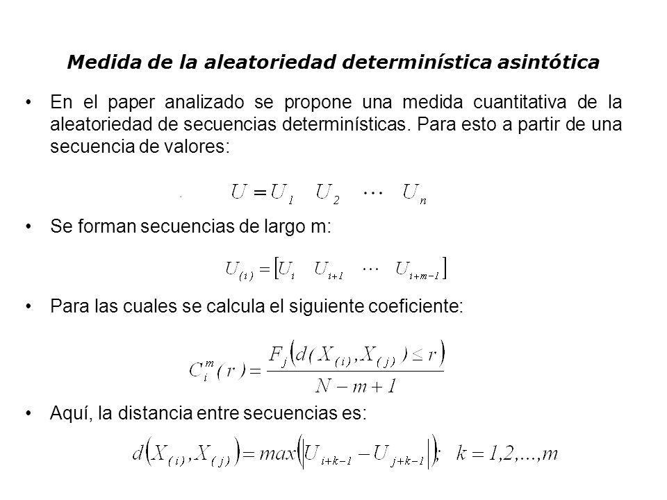 Medida de la aleatoriedad determinística asintótica En el paper analizado se propone una medida cuantitativa de la aleatoriedad de secuencias determin
