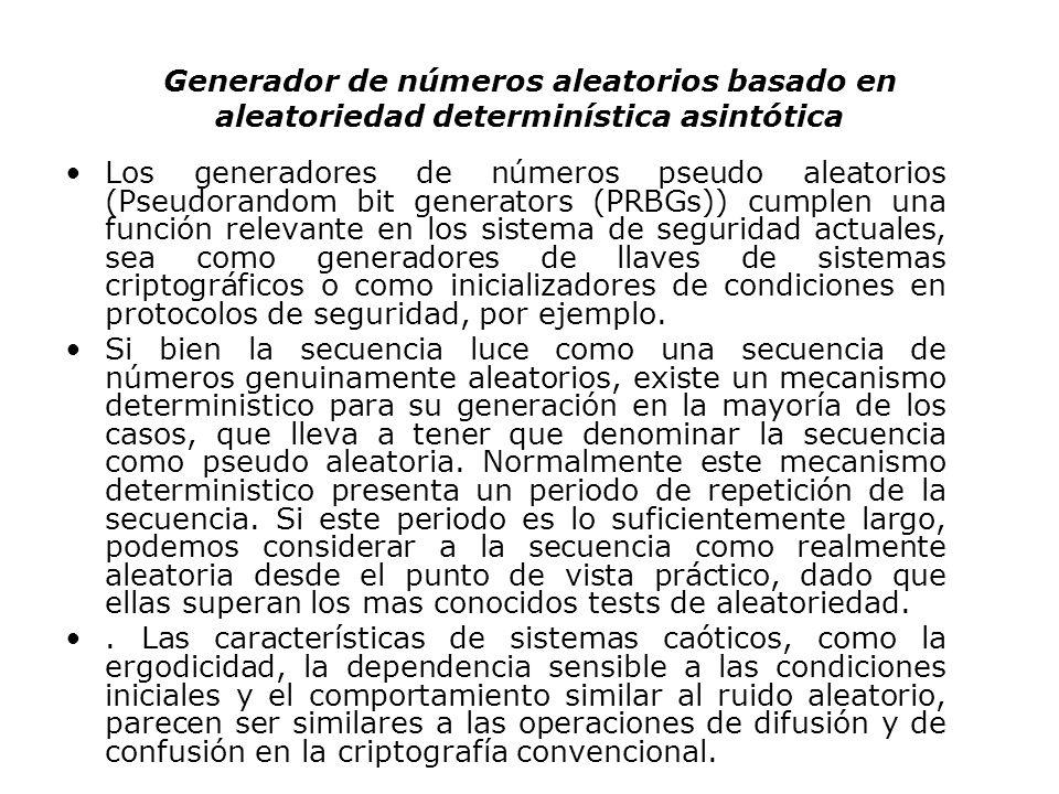 Generador de números aleatorios basado en aleatoriedad determinística asintótica Los generadores de números pseudo aleatorios (Pseudorandom bit genera