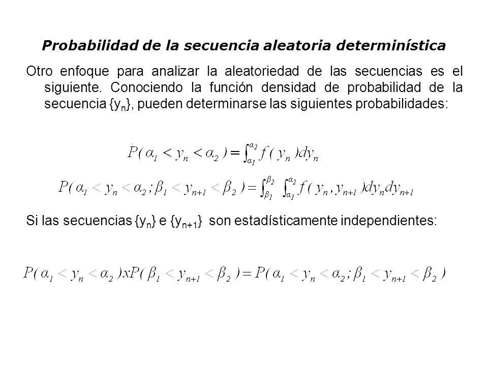 Probabilidad de la secuencia aleatoria determinística Otro enfoque para analizar la aleatoriedad de las secuencias es el siguiente. Conociendo la func