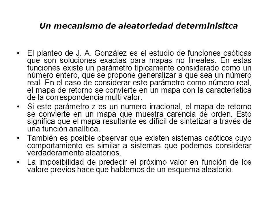 Un mecanismo de aleatoriedad determinisitca El planteo de J. A. González es el estudio de funciones caóticas que son soluciones exactas para mapas no