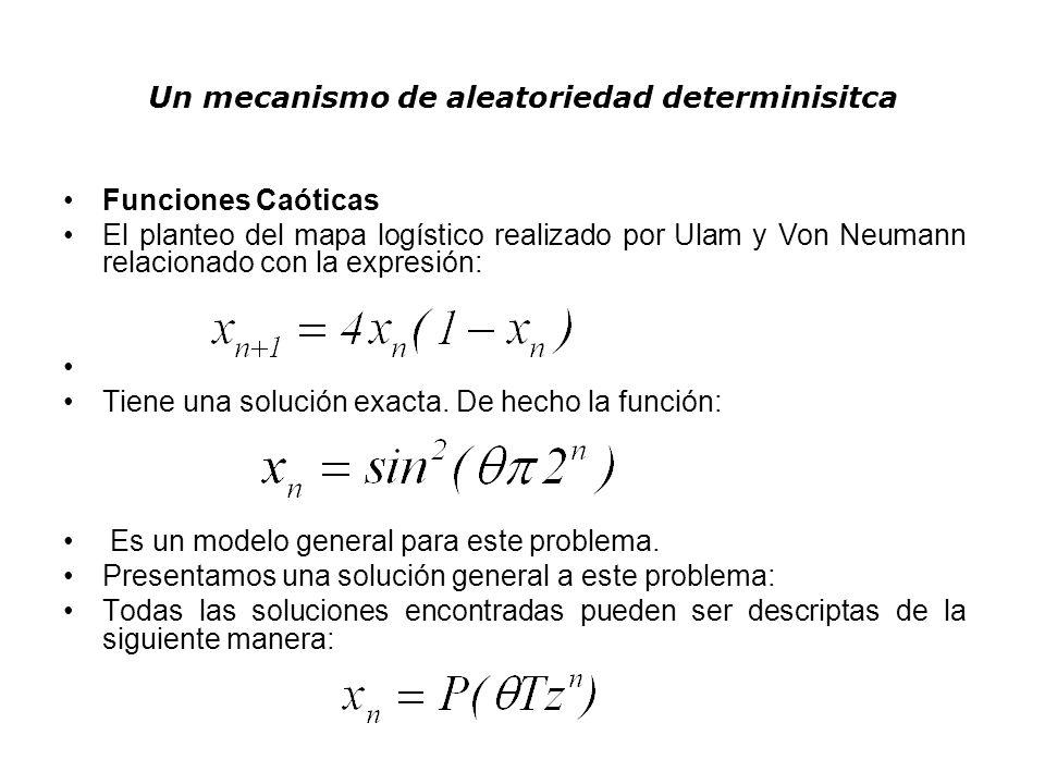 Un mecanismo de aleatoriedad determinisitca Un ejemplo de solución exacta para este caso lo da la función: Haciendo uso de la transformación: La función puede describirse como una serie de tramos lineales de la forma: De esta forma el conocido coeficiente de Liapunov tiene una solución analítica:
