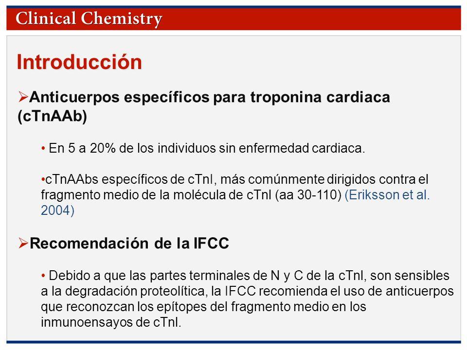 © Copyright 2009 by the American Association for Clinical Chemistry Introducción Objetivo del estudio: Muchos fabricantes de estudios de cTnl actualmente siguen las recomendaciones de la IFCC, por tanto éstos pueden sufrir interferencias de los cTnAAb.
