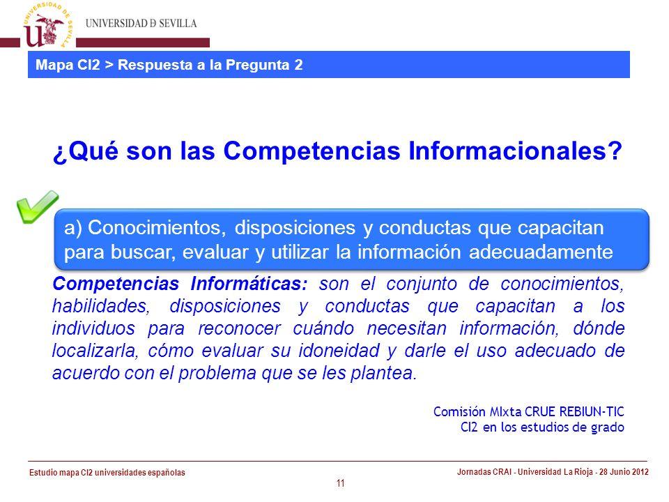 Estudio mapa CI2 universidades españolas Jornadas CRAI - Universidad La Rioja - 28 Junio 2012 11 Mapa CI2 > Respuesta a la Pregunta 2 ¿Qué son las Competencias Informacionales.