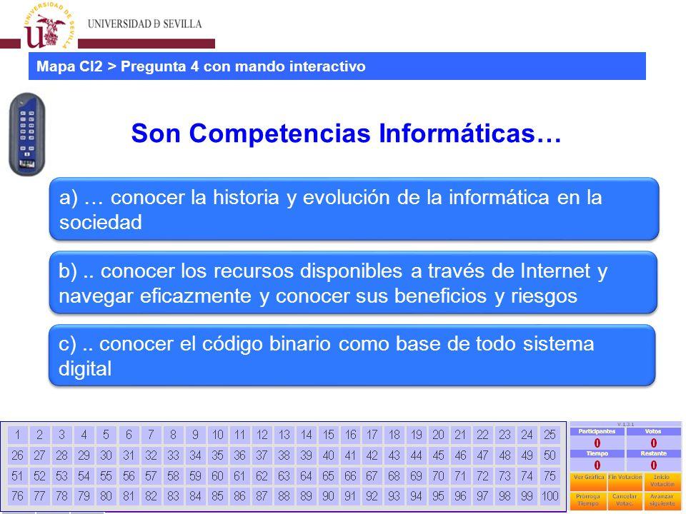Estudio mapa CI2 universidades españolas Jornadas CRAI - Universidad La Rioja - 28 Junio 2012 15 Son Competencias Informáticas… Mapa CI2 > Pregunta 4 con mando interactivo a) … conocer la historia y evolución de la informática en la sociedad b)..