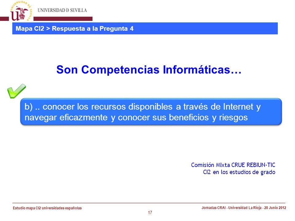 Estudio mapa CI2 universidades españolas Jornadas CRAI - Universidad La Rioja - 28 Junio 2012 17 Mapa CI2 > Respuesta a la Pregunta 4 Son Competencias Informáticas… Comisión MIxta CRUE REBIUN-TIC CI2 en los estudios de grado b)..
