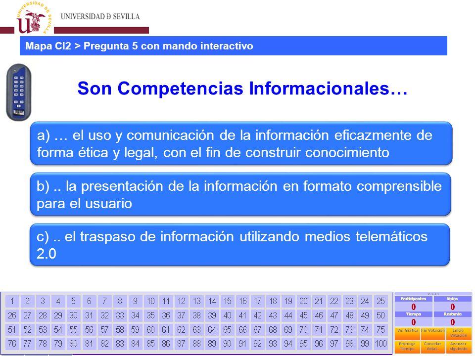Estudio mapa CI2 universidades españolas Jornadas CRAI - Universidad La Rioja - 28 Junio 2012 18 Son Competencias Informacionales… Mapa CI2 > Pregunta 5 con mando interactivo a) … el uso y comunicación de la información eficazmente de forma ética y legal, con el fin de construir conocimiento b)..