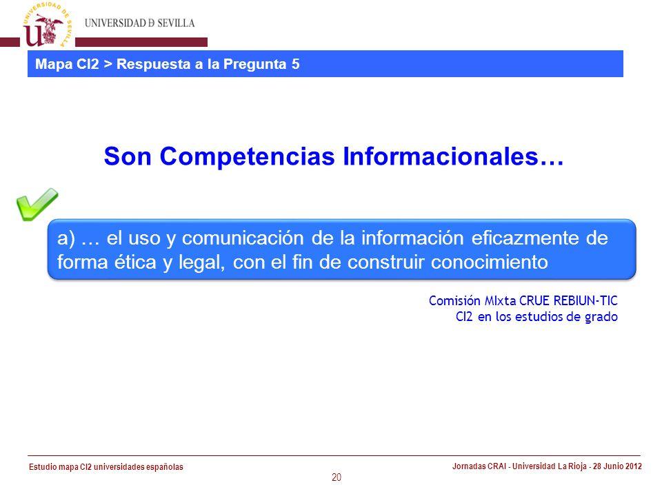 Estudio mapa CI2 universidades españolas Jornadas CRAI - Universidad La Rioja - 28 Junio 2012 20 Mapa CI2 > Respuesta a la Pregunta 5 Son Competencias Informacionales… Comisión MIxta CRUE REBIUN-TIC CI2 en los estudios de grado a) … el uso y comunicación de la información eficazmente de forma ética y legal, con el fin de construir conocimiento