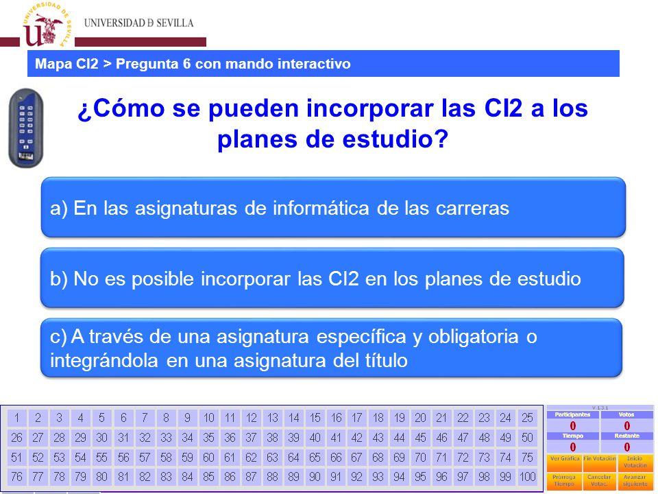 Estudio mapa CI2 universidades españolas Jornadas CRAI - Universidad La Rioja - 28 Junio 2012 67 ¿Cómo se pueden incorporar las CI2 a los planes de estudio.