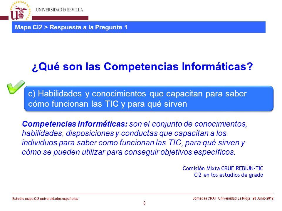 Estudio mapa CI2 universidades españolas Jornadas CRAI - Universidad La Rioja - 28 Junio 2012 8 Mapa CI2 > Respuesta a la Pregunta 1 ¿Qué son las Competencias Informáticas.