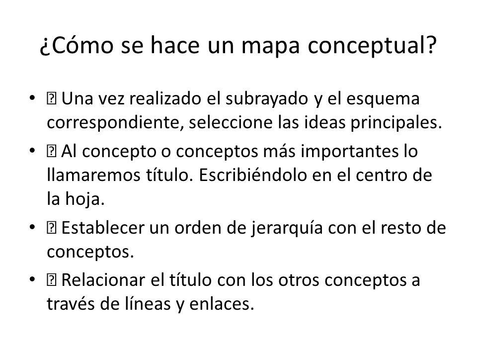 ¿Cómo se hace un mapa conceptual? Una vez realizado el subrayado y el esquema correspondiente, seleccione las ideas principales. Al concepto o concept