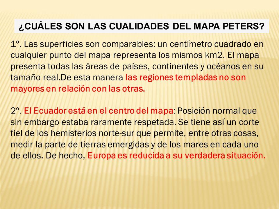¿CUÁLES SON LAS CUALIDADES DEL MAPA PETERS.1º.