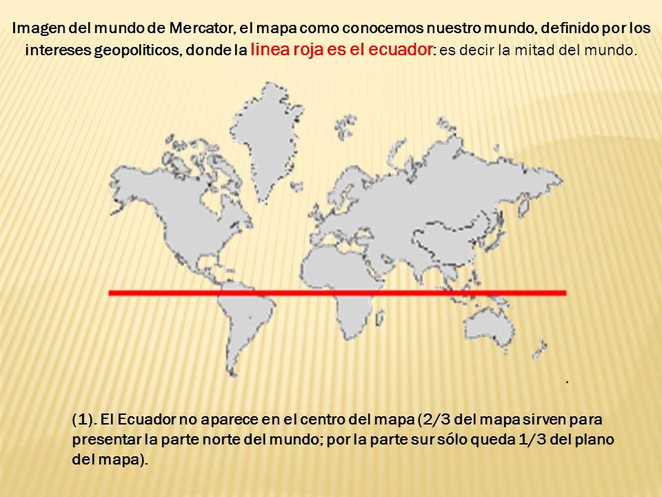 Imagen del mundo de Mercator, el mapa como conocemos nuestro mundo, definido por los intereses geopoliticos, donde la linea roja es el ecuador : es decir la mitad del mundo.