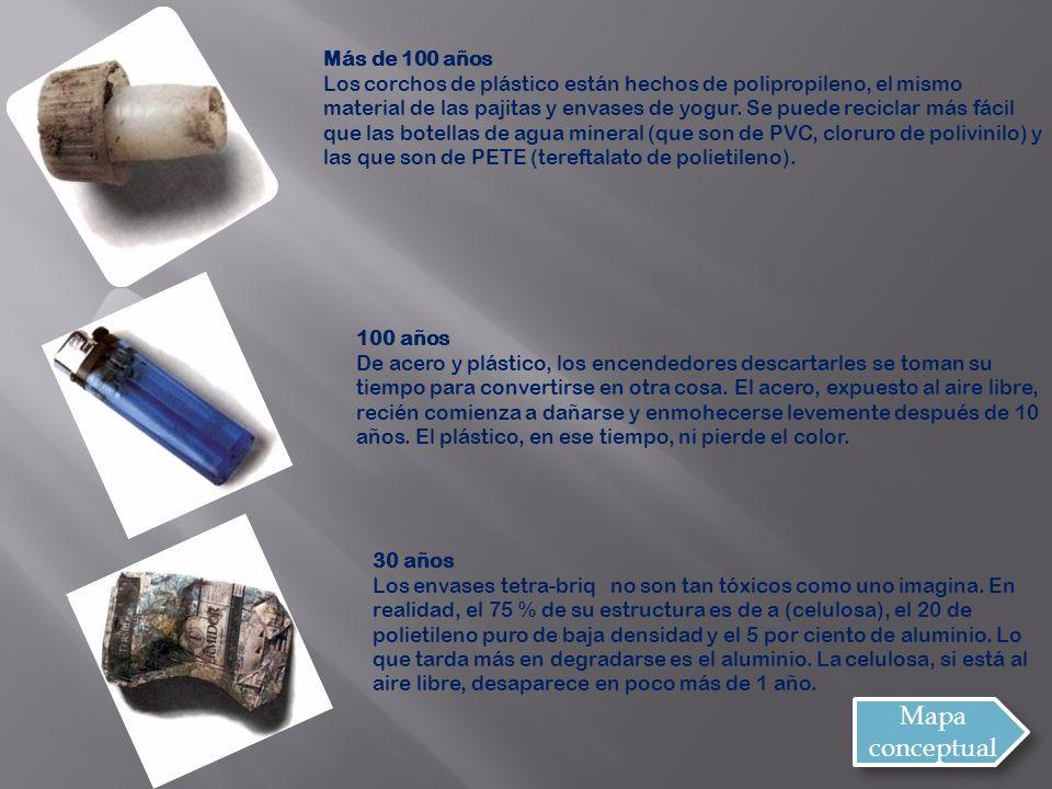 Más de 100 años Los corchos de plástico están hechos de polipropileno, el mismo material de las pajitas y envases de yogur.