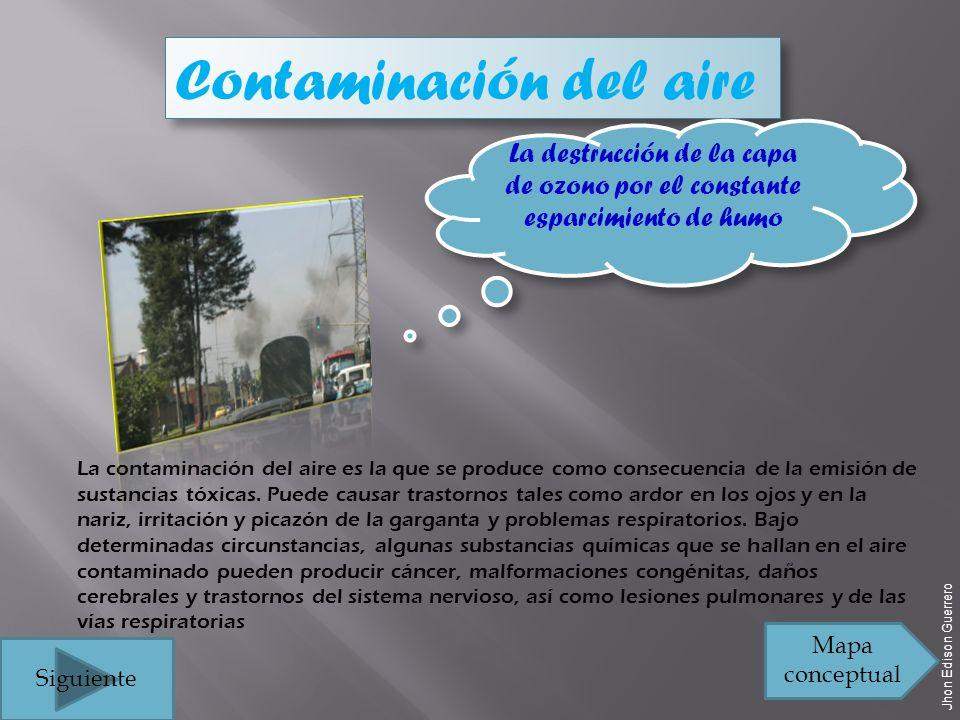 Contaminación del aire La contaminación del aire es la que se produce como consecuencia de la emisión de sustancias tóxicas.