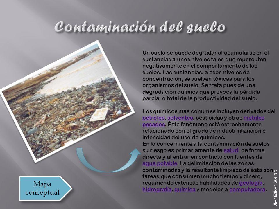 Un suelo se puede degradar al acumularse en él sustancias a unos niveles tales que repercuten negativamente en el comportamiento de los suelos.