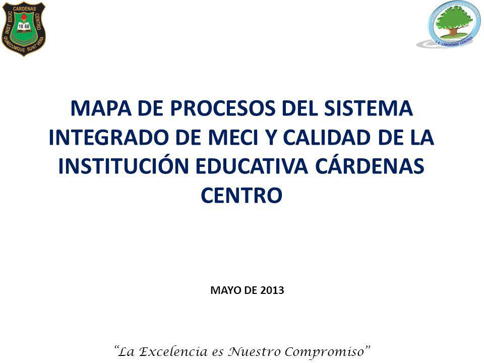 MAPA DE PROCESOS DEL SISTEMA INTEGRADO DE MECI Y CALIDAD DE LA INSTITUCIÓN EDUCATIVA CÁRDENAS CENTRO MAYO DE 2013 La Excelencia es Nuestro Compromiso
