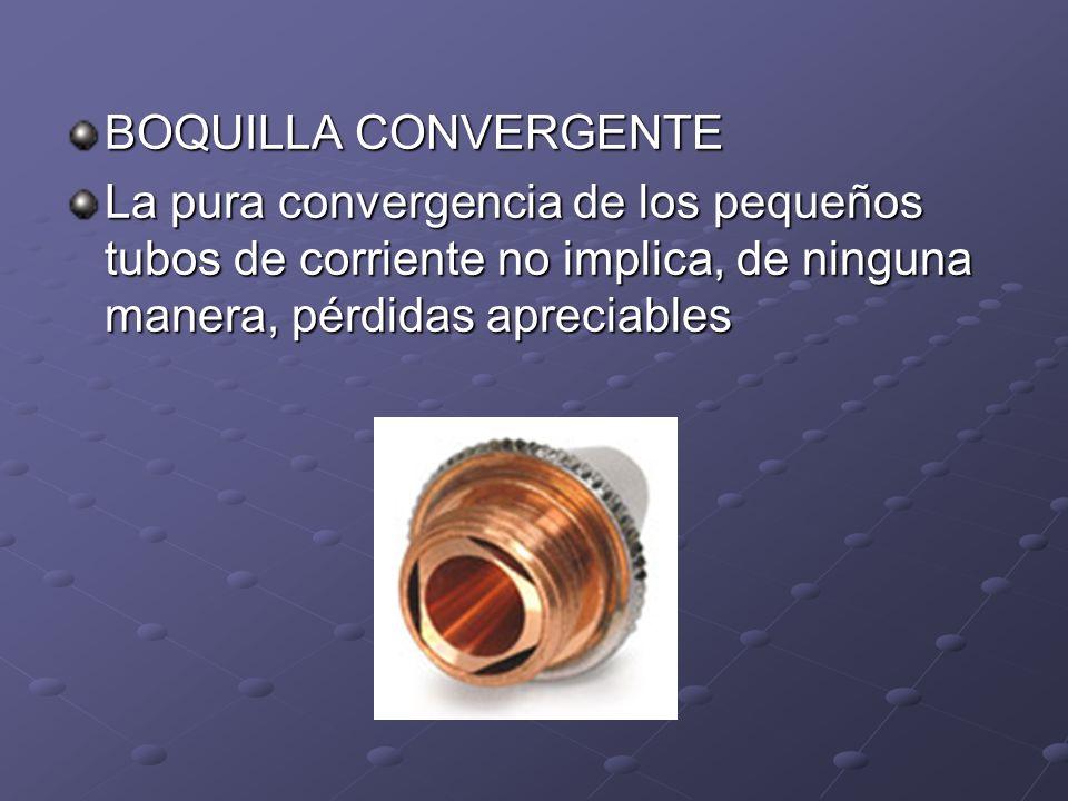 BOQUILLA CONVERGENTE La pura convergencia de los pequeños tubos de corriente no implica, de ninguna manera, pérdidas apreciables