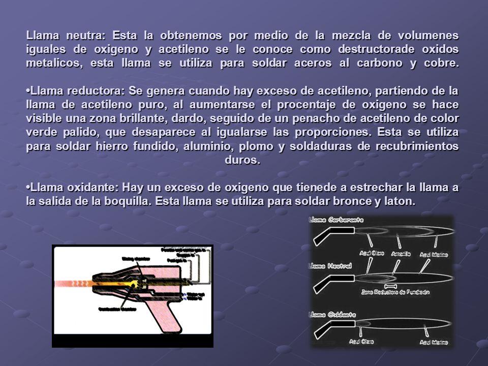 Llama neutra: Esta la obtenemos por medio de la mezcla de volumenes iguales de oxigeno y acetileno se le conoce como destructorade oxidos metalicos, e