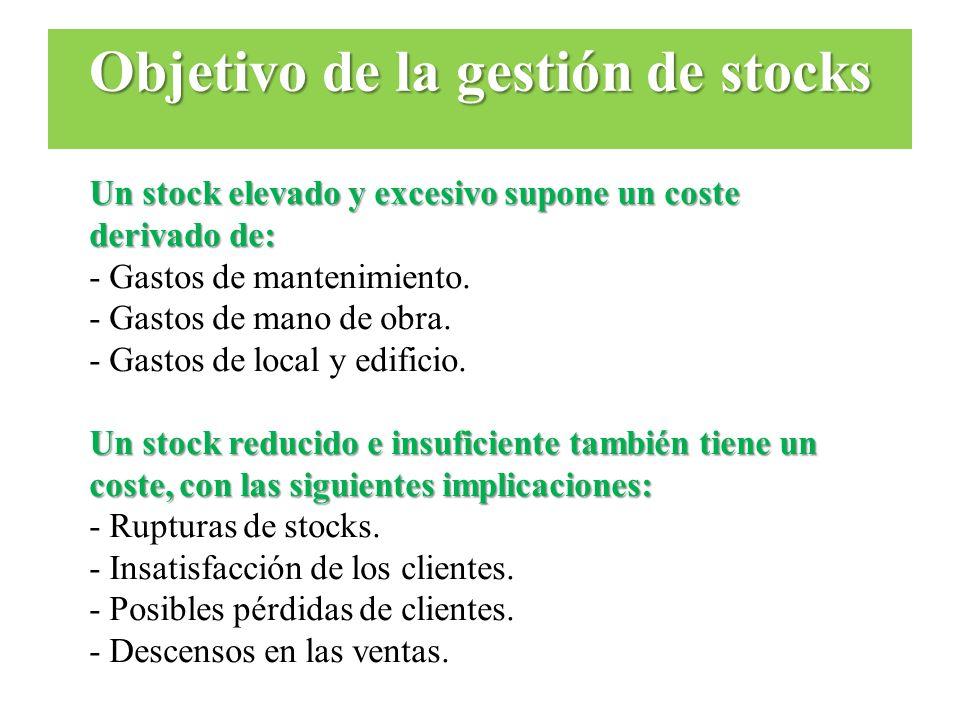 Un stock elevado y excesivo supone un coste derivado de: - Gastos de mantenimiento. - Gastos de mano de obra. - Gastos de local y edificio. Un stock r
