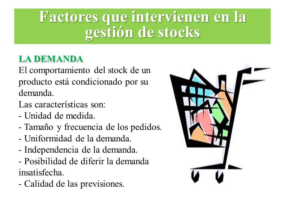 LA DEMANDA El comportamiento del stock de un producto está condicionado por su demanda. Las características son: - Unidad de medida. - Tamaño y frecue