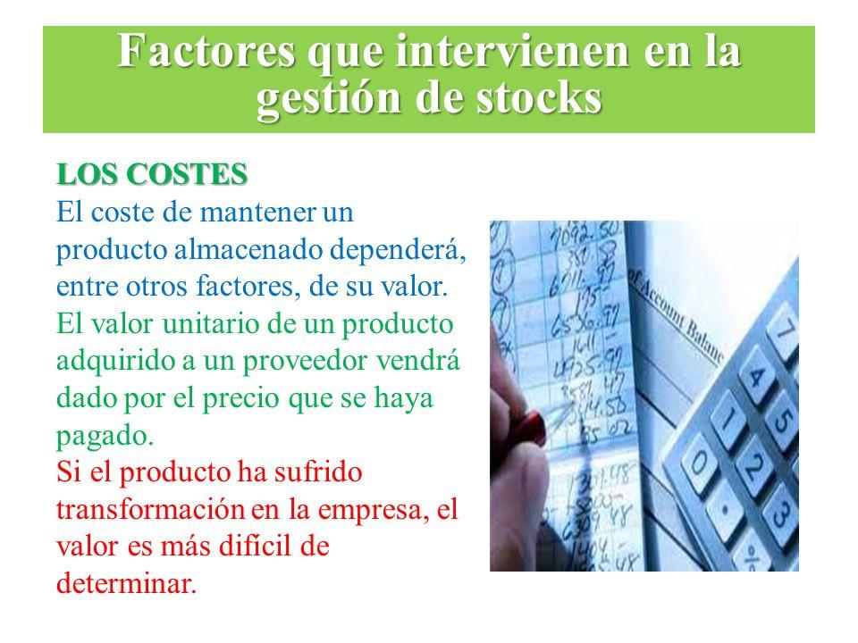 LOS COSTES El coste de mantener un producto almacenado dependerá, entre otros factores, de su valor. El valor unitario de un producto adquirido a un p