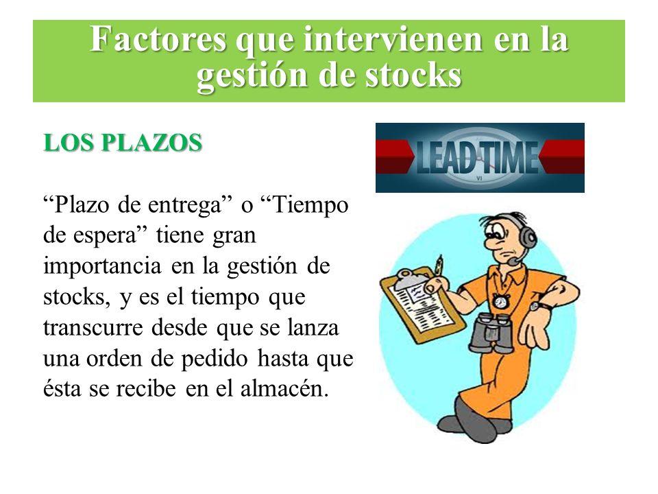 LOS PLAZOS Plazo de entrega o Tiempo de espera tiene gran importancia en la gestión de stocks, y es el tiempo que transcurre desde que se lanza una or