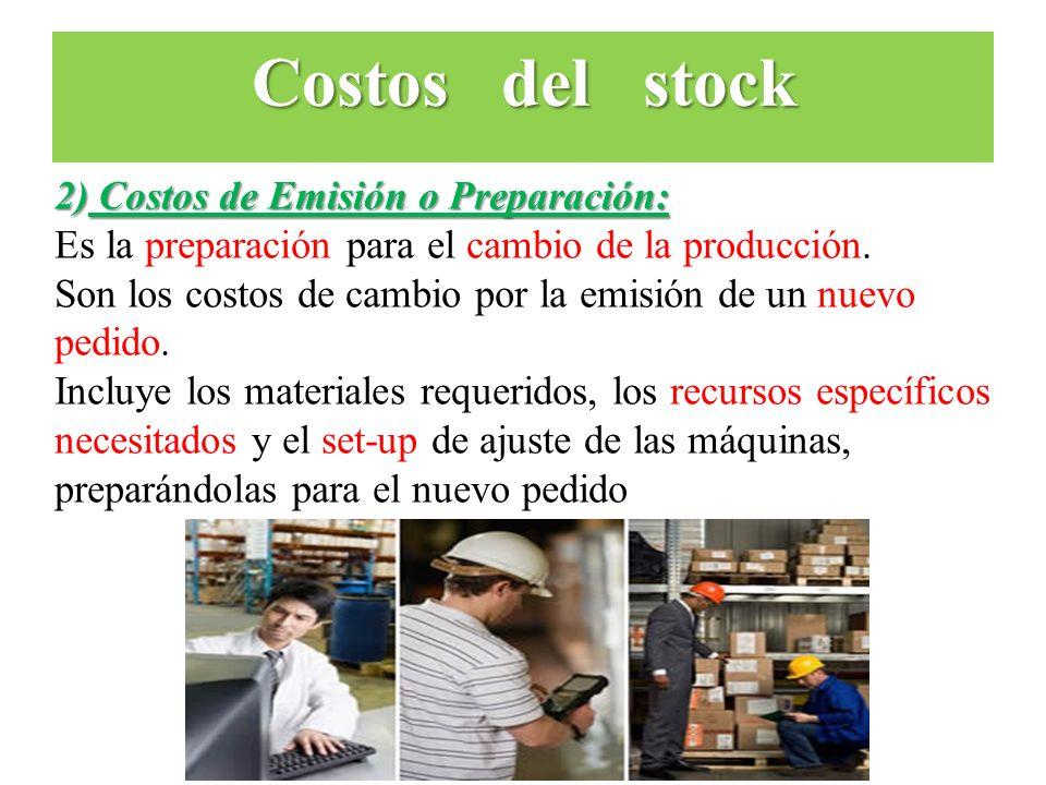 2) Costos de Emisión o Preparación: Es la preparación para el cambio de la producción. Son los costos de cambio por la emisión de un nuevo pedido. Inc