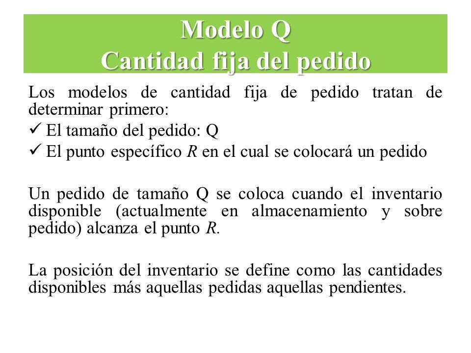 Modelo Q Cantidad fija del pedido Los modelos de cantidad fija de pedido tratan de determinar primero: El tamaño del pedido: Q El punto específico R e