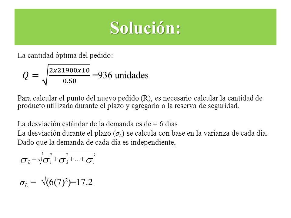 La cantidad óptima del pedido: Para calcular el punto del nuevo pedido (R), es necesario calcular la cantidad de producto utilizada durante el plazo y