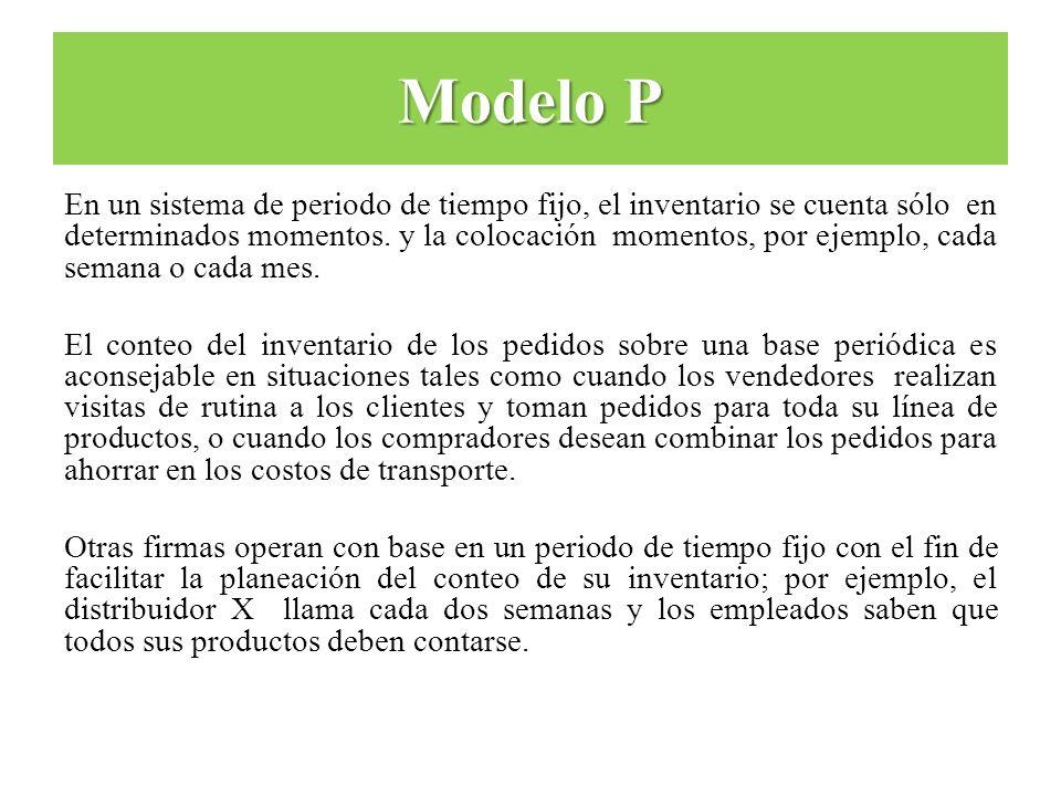 Modelo P En un sistema de periodo de tiempo fijo, el inventario se cuenta sólo en determinados momentos. y la colocación momentos, por ejemplo, cada s