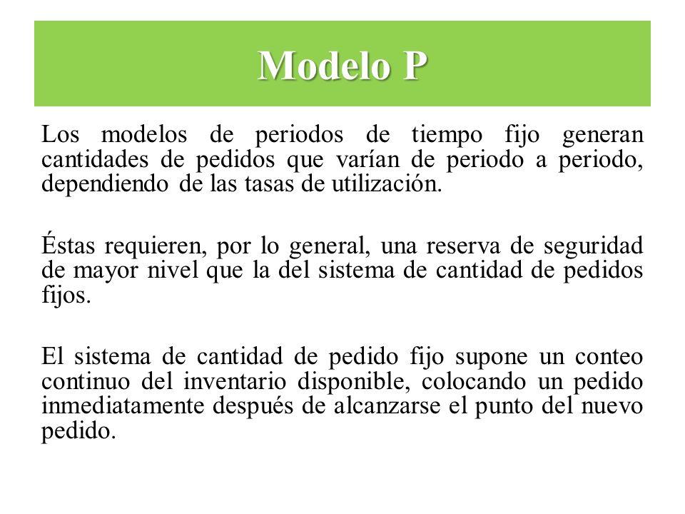 Los modelos de periodos de tiempo fijo generan cantidades de pedidos que varían de periodo a periodo, dependiendo de las tasas de utilización. Éstas r