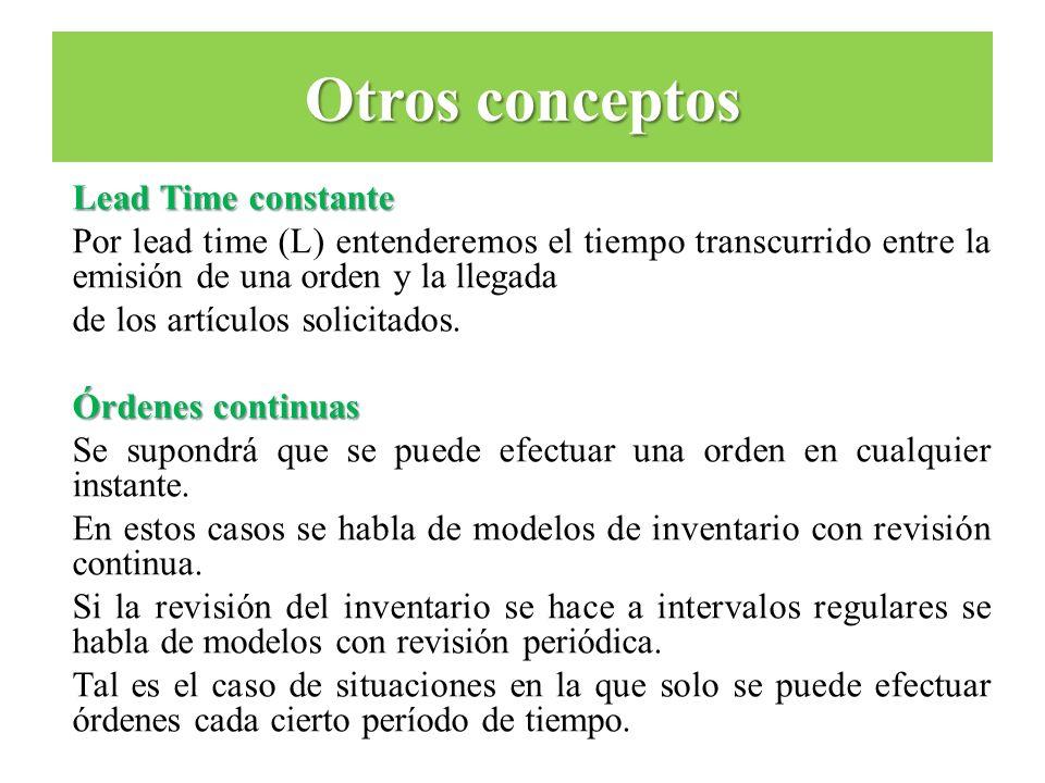 Lead Time constante Por lead time (L) entenderemos el tiempo transcurrido entre la emisión de una orden y la llegada de los artículos solicitados. Órd