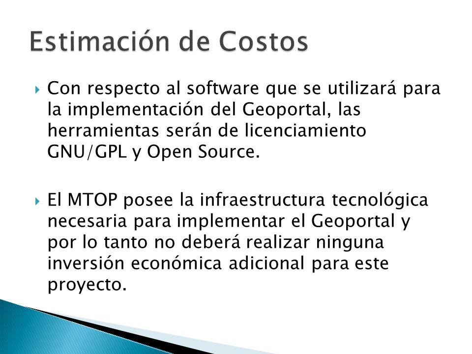 Con respecto al software que se utilizará para la implementación del Geoportal, las herramientas serán de licenciamiento GNU/GPL y Open Source. El MTO