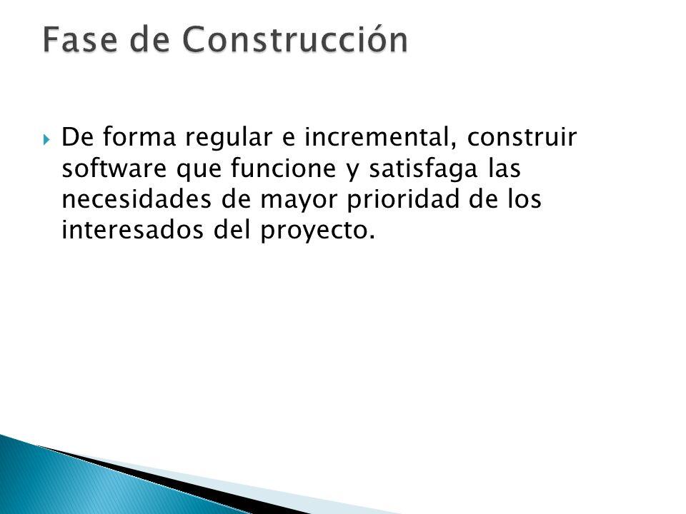De forma regular e incremental, construir software que funcione y satisfaga las necesidades de mayor prioridad de los interesados del proyecto.
