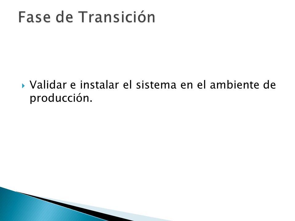 Validar e instalar el sistema en el ambiente de producción.