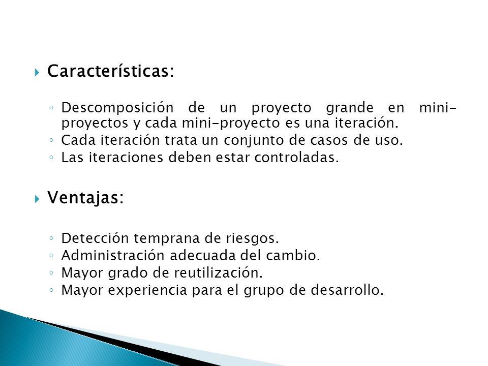 Características: Descomposición de un proyecto grande en mini- proyectos y cada mini-proyecto es una iteración. Cada iteración trata un conjunto de ca