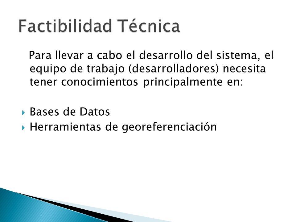 Para llevar a cabo el desarrollo del sistema, el equipo de trabajo (desarrolladores) necesita tener conocimientos principalmente en: Bases de Datos He