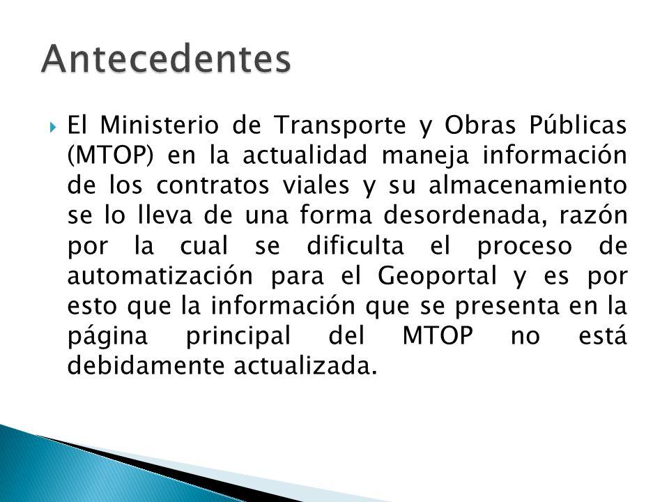 El Ministerio de Transporte y Obras Públicas (MTOP) en la actualidad maneja información de los contratos viales y su almacenamiento se lo lleva de una