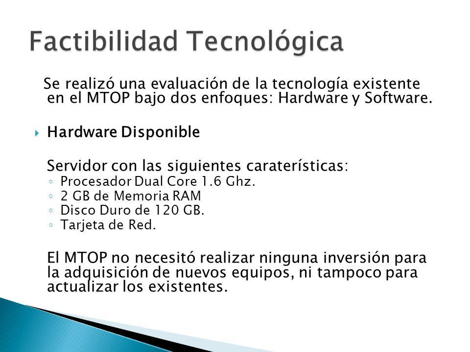Se realizó una evaluación de la tecnología existente en el MTOP bajo dos enfoques: Hardware y Software. Hardware Disponible Servidor con las siguiente