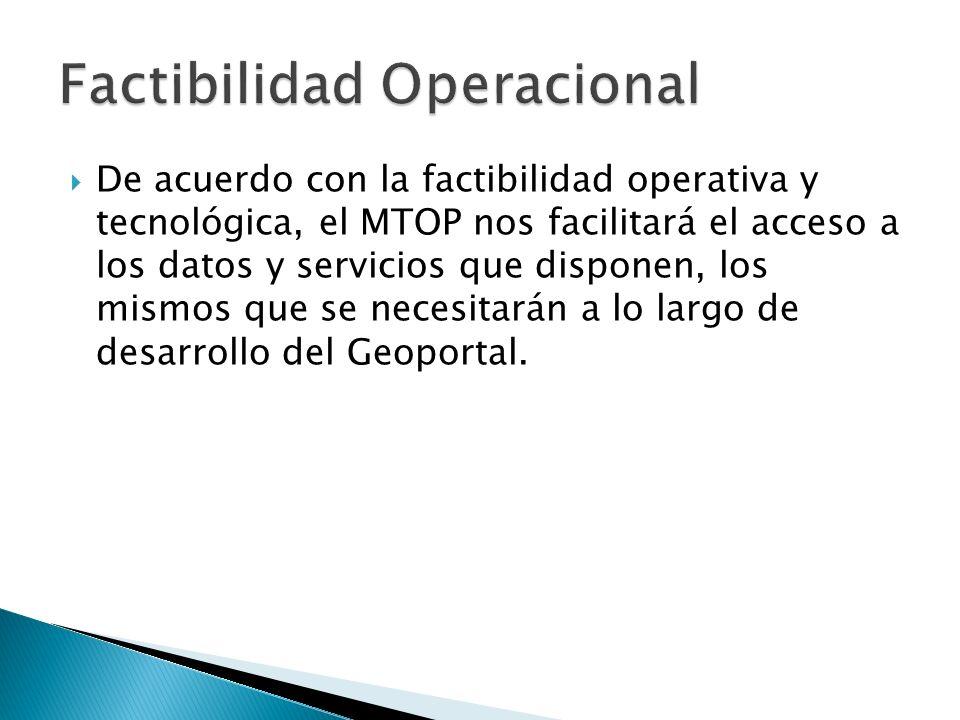 De acuerdo con la factibilidad operativa y tecnológica, el MTOP nos facilitará el acceso a los datos y servicios que disponen, los mismos que se neces