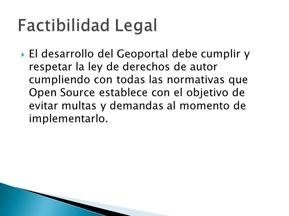 El desarrollo del Geoportal debe cumplir y respetar la ley de derechos de autor cumpliendo con todas las normativas que Open Source establece con el o