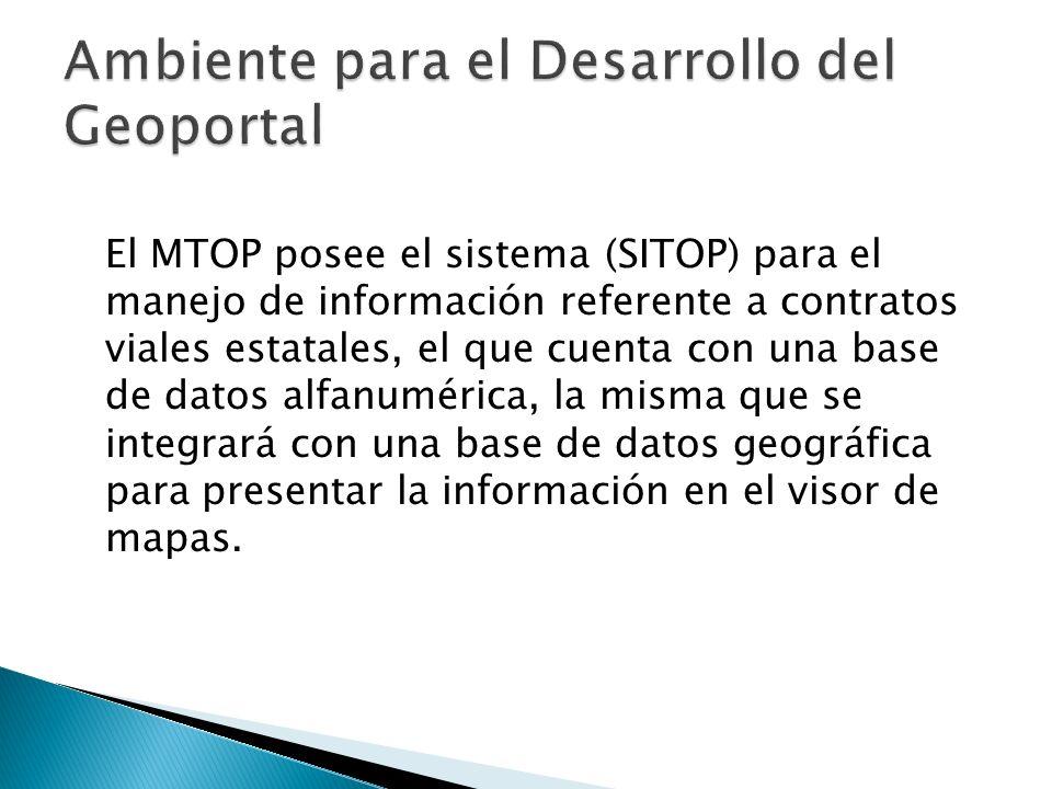 El MTOP posee el sistema (SITOP) para el manejo de información referente a contratos viales estatales, el que cuenta con una base de datos alfanuméric
