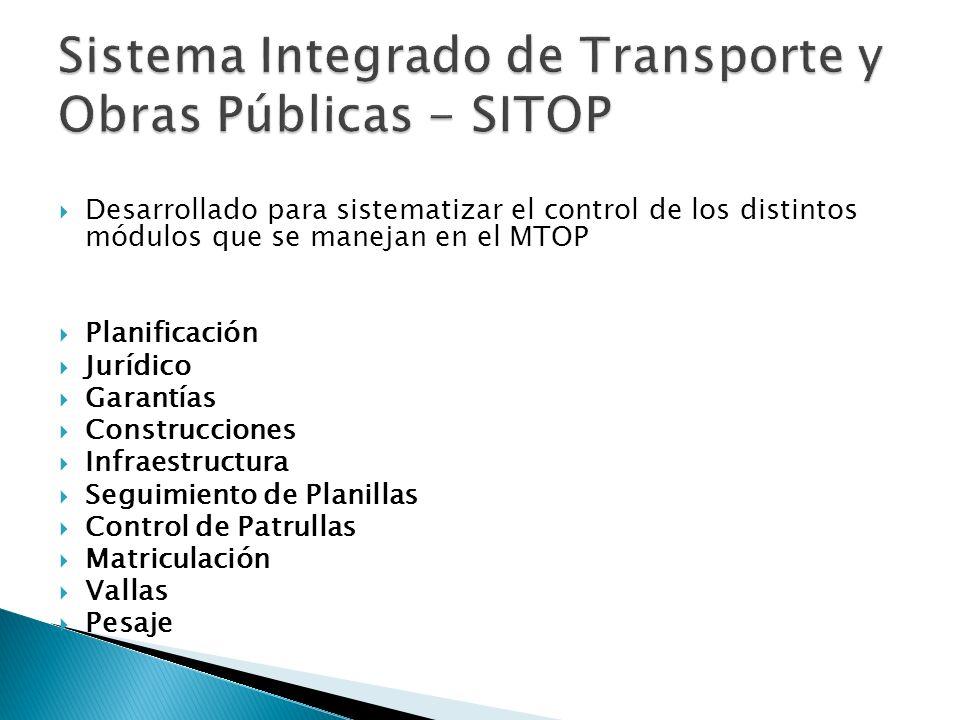 Desarrollado para sistematizar el control de los distintos módulos que se manejan en el MTOP Planificación Jurídico Garantías Construcciones Infraestr
