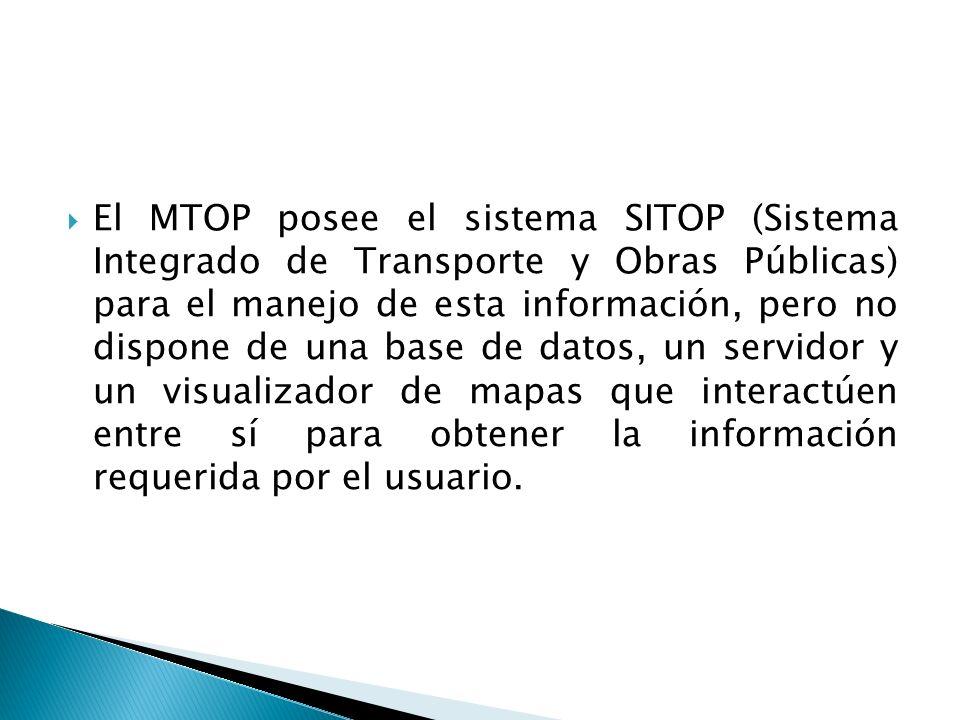 El MTOP posee el sistema SITOP (Sistema Integrado de Transporte y Obras Públicas) para el manejo de esta información, pero no dispone de una base de d