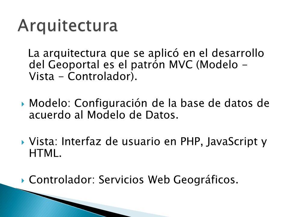 La arquitectura que se aplicó en el desarrollo del Geoportal es el patrón MVC (Modelo - Vista - Controlador). Modelo: Configuración de la base de dato