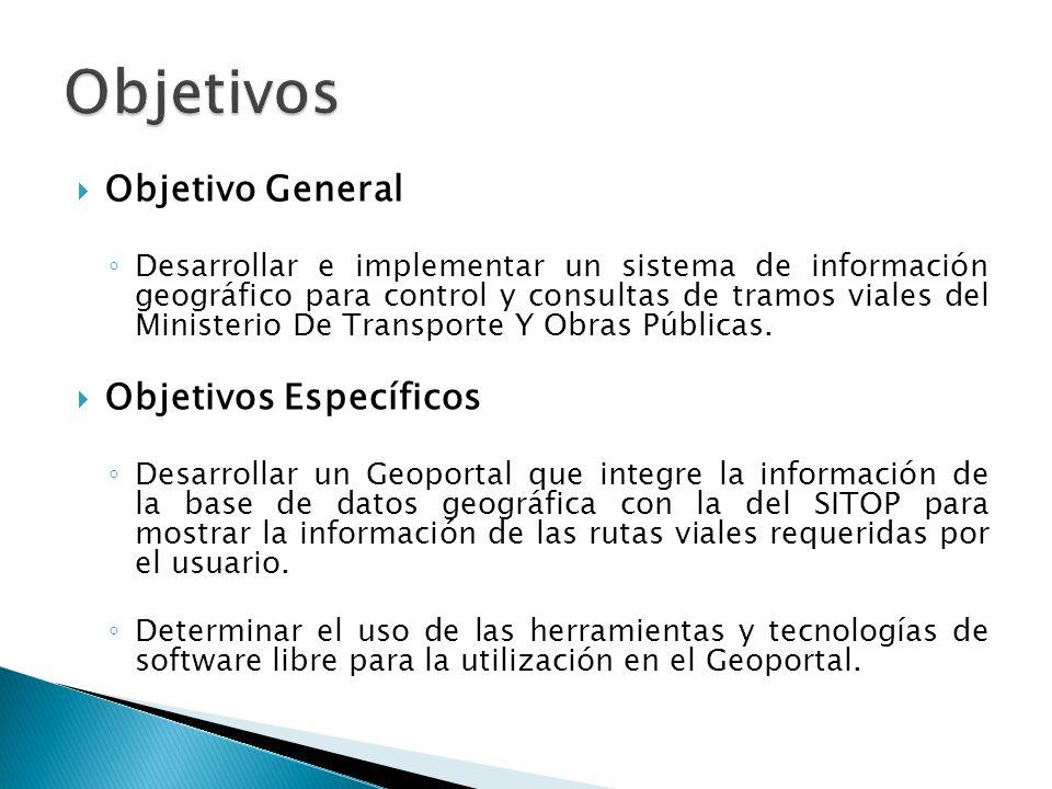 Objetivo General Desarrollar e implementar un sistema de información geográfico para control y consultas de tramos viales del Ministerio De Transporte