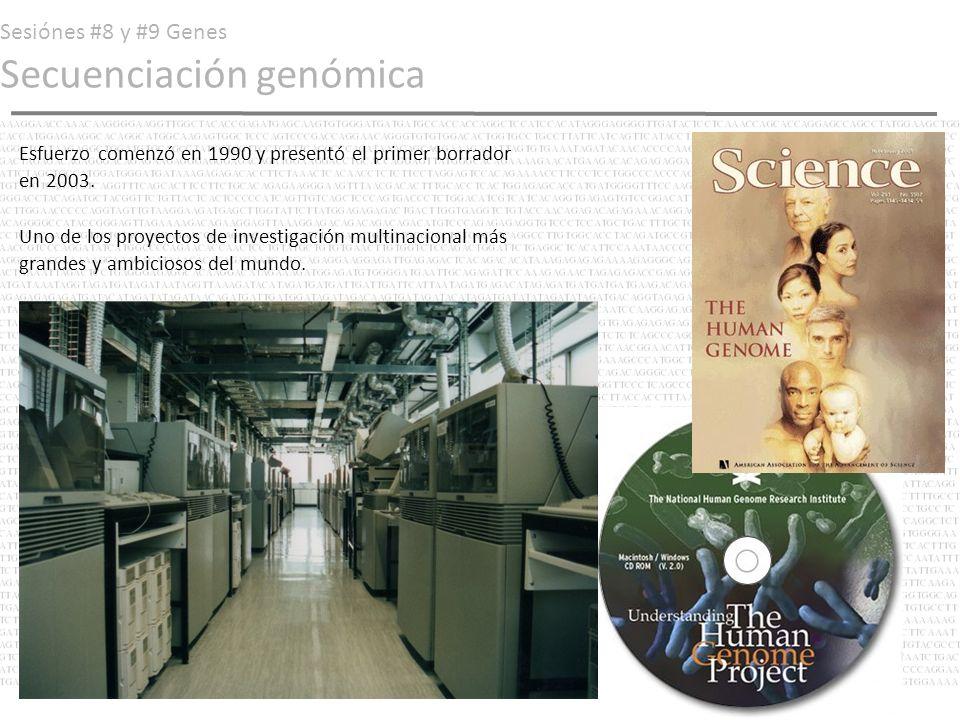 Sesiónes #8 y #9 Genes Secuenciación genómica Esfuerzo comenzó en 1990 y presentó el primer borrador en 2003. Uno de los proyectos de investigación mu