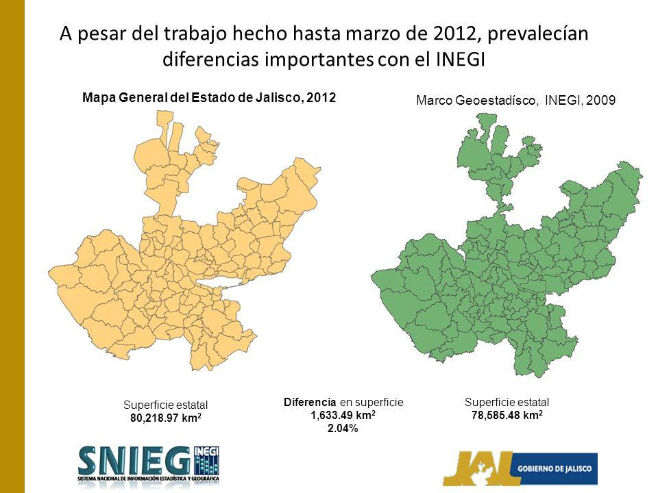 A pesar del trabajo hecho hasta marzo de 2012, prevalecían diferencias importantes con el INEGI Mapa General del Estado de Jalisco, 2012 Marco Geoestadísco, INEGI, 2009 Superficie estatal 80,218.97 km 2 Superficie estatal 78,585.48 km 2 Diferencia en superficie 1,633.49 km 2 2.04%